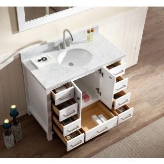 """Juego de tocador de baño de lavabo simple de 43 """", acabado blanco, Carrara ..."""