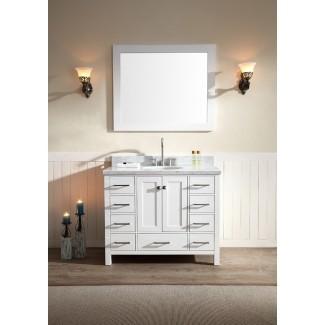 """Juego de tocador de baño con lavabo simple de 43 """", acabado blanco, Carrara ..."""