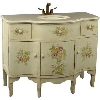 """Monserrat 44 """"Juego de tocador de baño de estilo floral pintado simple"""