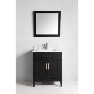 """Lachine Marble - Mueble de baño individual de 30 """"con espejo"""