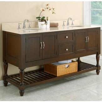 """Consola para lavamanos doble estilo baño de 70 """"Mission Style con ..."""