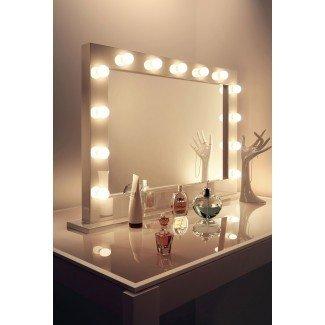 Espejo de tocador negro, espejo de maquillaje iluminado hollywood ...