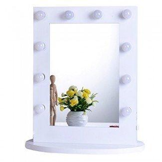 Espejo de tocador de maquillaje Chende Hollywood con encimeras de luz Espejo iluminado con atenuador, espejo cosmético iluminado con LED con bombillas LED regulables, espejo de iluminación montado en la pared