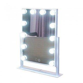 Geek-House Tabletops Maquillaje iluminado Espejo de vanidad Hollywood Style Bombilla LED y atenuador USB con energía de San Valentín Regalo