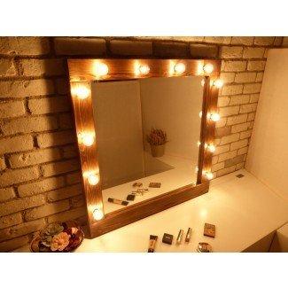 Espejo de Hollywood con luces espejo de espejo de maquillaje rústico