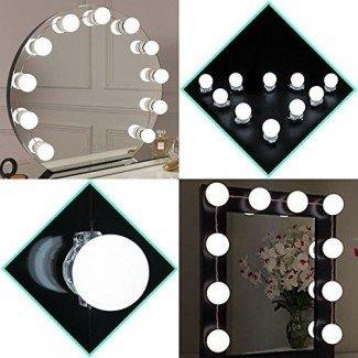 Luces de espejo de vanidad de Hollywood, kit de luces de espejo de vanidad de maquillaje para tira de accesorios de iluminación de tocador, 13.5 pies, espejo no incluido