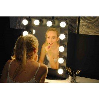 Maquillaje profesional de 12 bombillas negro Hollywood Mirror Vanity ...