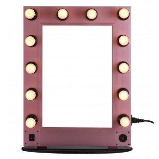 El espejo de maquillaje con iluminación profesional, montado en la pared con luz ...