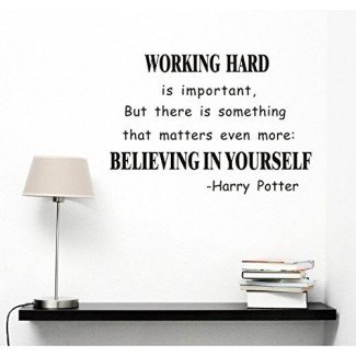 Cree en ti mismo Adhesivo de arte de pared Citas de Harry Potter Adhesivos de pared murales removibles Calcomanía de pared para decoración de oficina / sala de estudio
