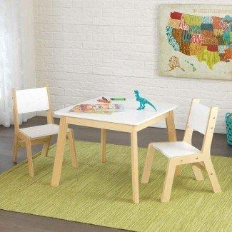 Juego de mesa y silla cuadrada de 3 piezas para niños modernos