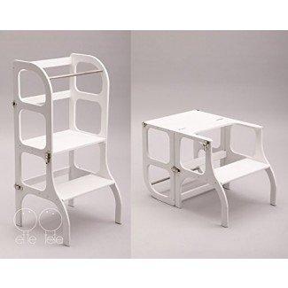 Pequeña torre auxiliar / mesa / silla todo en uno, taburete de aprendizaje Montessori, taburete de cocina - color BLANCO