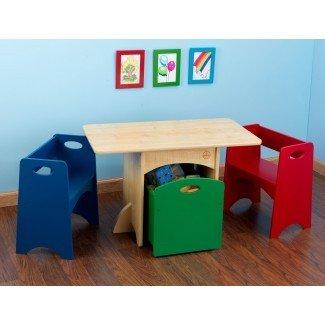 Juego de mesa y silla rectangular para niños de 4 piezas