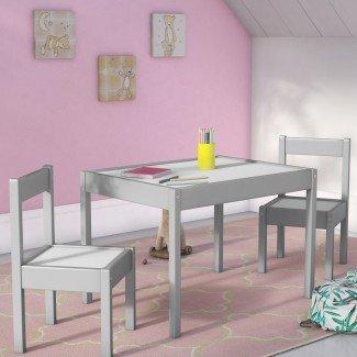 Juego de mesa y silla rectangular de 3 piezas Ramona