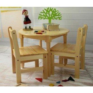Muebles de madera de Tiger School - mesa redonda con sillas ...