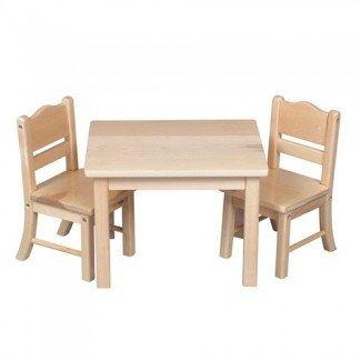 Materiales Montessori: Juego de mesa y silla para muñecas - Natural