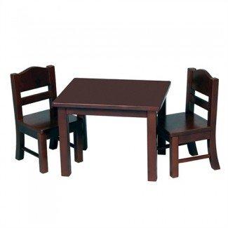 Materiales Montessori: Juego de mesa y silla para muñecas - Espresso