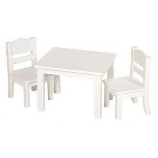 Materiales Montessori: Mesa y silla para muñecas - Blanco