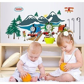 Fange DIY Extraíble Thomas the Train Art Mural Vinilo Impermeable Sticks de pared Decoración de la habitación de los niños Nursery Decal Sticker Wallpaper 35.4''x23.6 ''