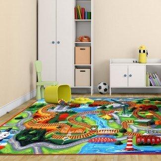 Alfombra Hit Thomas de poliéster naranja / verde para niños