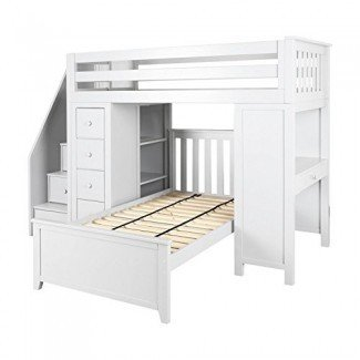 Jackpot! Deluxe Loft All-in-One escalera de madera maciza Loft Bed + Dresser