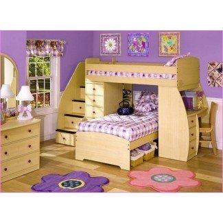 Cama alta tamaño loft con escritorio y escaleras | Inicio