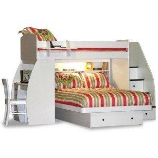 Berg Furniture Sierra Twin sobre escaleras de escritorio con cama alta tipo loft
