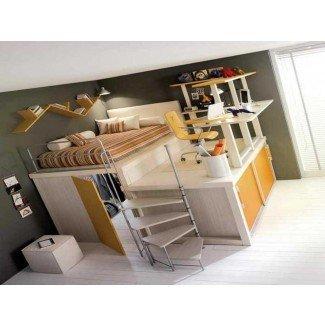 cómo construir una cama tipo loft de tamaño completo con escaleras