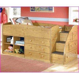 Cama alta tamaño loft con escaleras y escritorio | Inicio