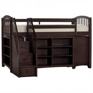 NE Kids School House Storage Junior Loft Bed with Stairs