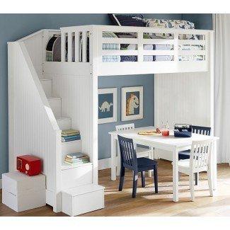 Cama alta con escaleras para niños | Ideas de muebles para niños