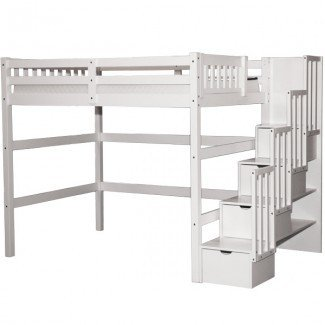Aria Stairway Full Loft Bed White - Scanica
