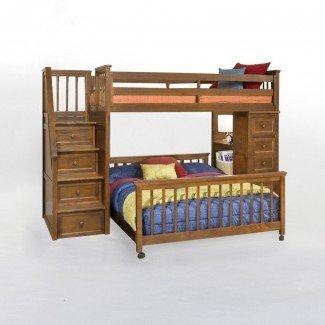 Cama alta de tamaño completo con escaleras - Diseño de cama alta