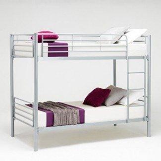Estructura de litera de tamaño Twin Twin sobre Twin con escalera de escalera, escalera de diseño que ahorra espacio Muebles para dormitorio de adolescentes para adultos Adult Silver)