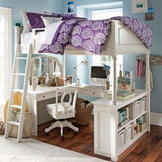 Literas: cama alta con escaleras de tamaño completo