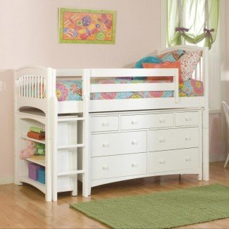 Literas: cama alta de tamaño completo con escritorio doble