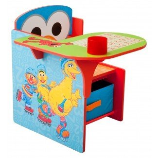 Silla de escritorio para niños Sesame Street con compartimento de almacenamiento y portavasos