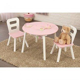 Juego de mesa redonda y 2 sillas KidKraft - Rosa y blanco - 26165