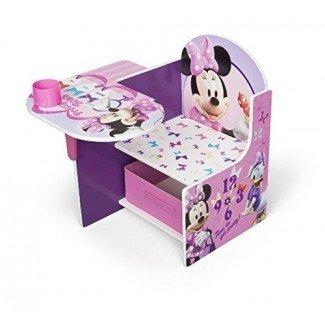 Escritorio de silla Disney con compartimiento de almacenamiento Juego de escritorio de personajes de Minnie Mouse Asiento de almacenamiento de tela Asiento Mesa de almacenamiento adicional Silla de escritorio Se requiere ensamblaje de MDF Se sienta bajo Muebles infantiles