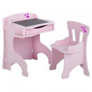 Planes de madera maciza para escritorio y silla para niños
