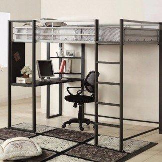 Cama litera Saint-Louis Full Loft con escritorio y estante