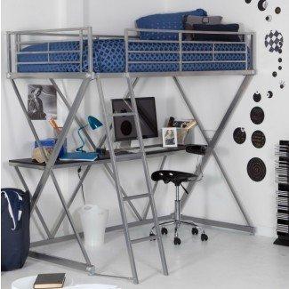 Cama alta blanca con escritorio Walmart | Ideas de diseño para el hogar