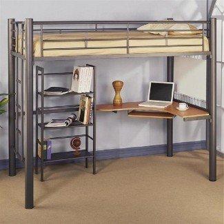Cama alta tipo loft con escritorio Ikea