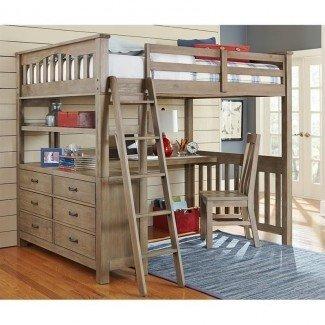 NE Kids Highlands Full Loft Bed con escritorio y estante