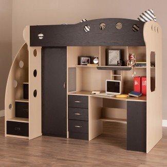 Cama alta de tamaño completo con escritorio y almacenamiento - Whitevan