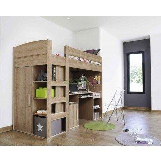 Cama alta tamaño loft con escritorio debajo. Gran tamaño de