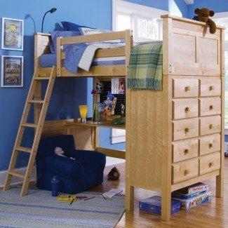 cama alta de tamaño completo con escritorio ...