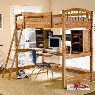 cama alta tamaño loft con escritorio ...