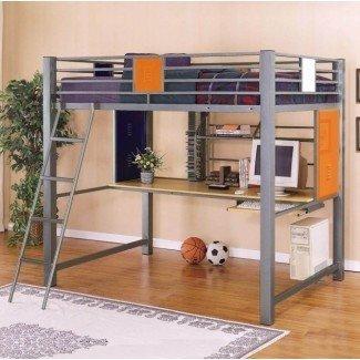 Cama alta de metal de tamaño completo con escritorio | Cama &