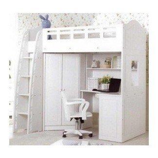 Cama alta blanca para niñas con escritorio - Foter