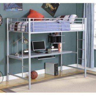 Cama alta de metal con escritorio Cama alta de metal de tamaño completo